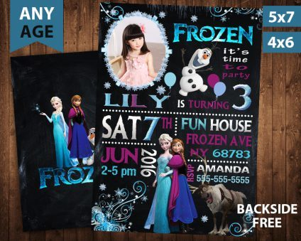 Frozen Invitation With Picture, Frozen Invite, Frozen Birthday Party, Frozen Printable, Frozen Card, DIY