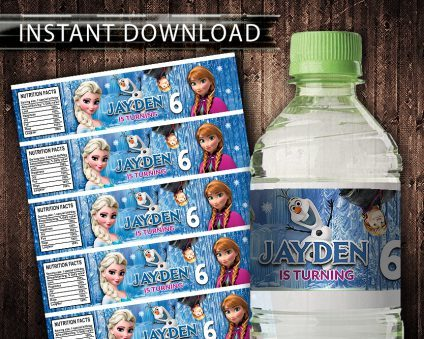Frozen Water Bottle Labels, Frozen Bottle Labels, Water Labels, Frozen Birthday Party, DIY