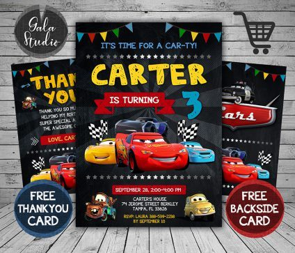 Disney Cars Invitation Card, Disney Cars Invite, Cars 3, Disney Cars Birthday Party, Disney Cars Printable, DIY