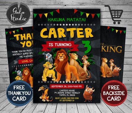 Lion King Invitation, Lion King Invite, Lion King Birthday Party, Lion King Printable, Lion King Card, DIY