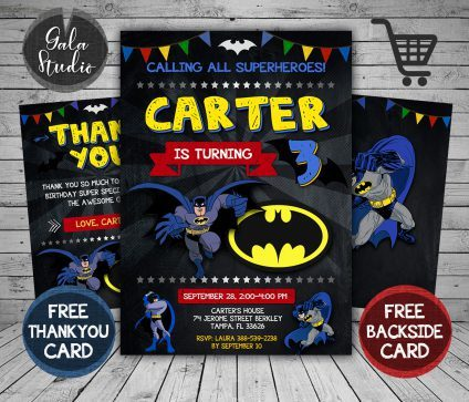 Batman Invitation Card, Batman Invite, Batman Birthday Party, Batman Printable, DIY