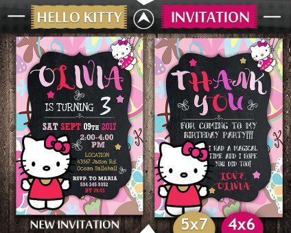 Hello Kitty Invitation, Hello Kitty Invite, Hello Kitty Birthday Party, Hello Kitty Printable, Hello Kitty Card, DIY