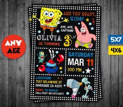 Spongebob Invitation Card, Spongebob Invite, Spongebob Birthday Party, Spongebob Printable, Spongebob Card, DIY