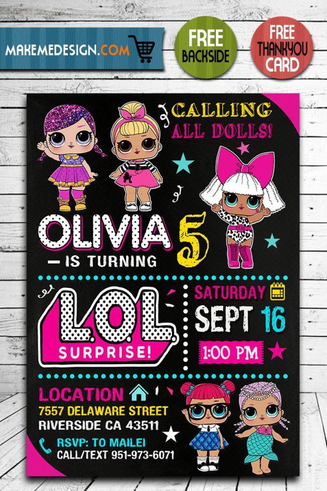 Lol Surprise Dolls Invitation, Lol Surprise Dolls Invite, Lol Surprise Dolls Birthday Party, Lol Surprise Dolls Printable, Lol Surprise Dolls Card, DIY