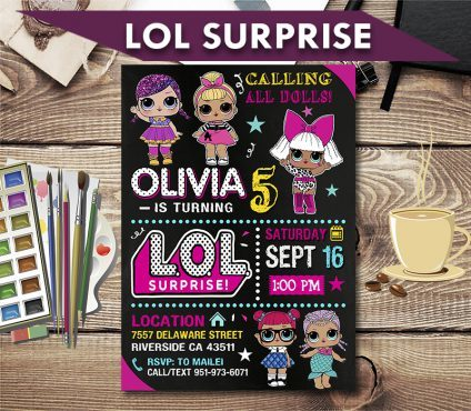 Lol Surprise Dolls Invitation, Lol Surprise Dolls Invite, Lol Surprise Dolls Birthday Party, Lol Surprise Dolls Printable, Lol Surprise Dolls Card, DIY