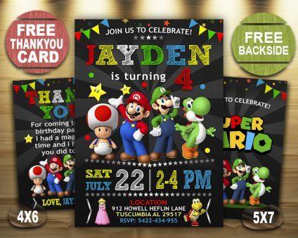 Mario Invitation, Mario Invite, Mario Birthday Party, Mario Printable, Mario Card, DIY