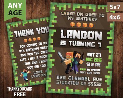 Minecraft Invitation, Minecraft Invite, Minecraft Birthday Party, Minecraft Printable, Minecraft Card, DIY