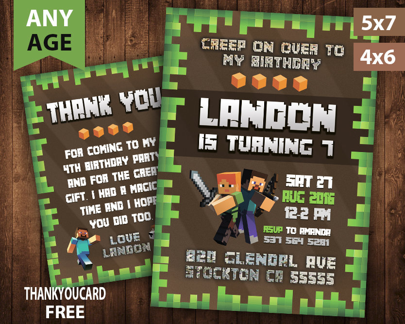 It's just an image of Printable Minecraft Birthday Cards within character