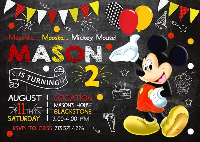 Mickey Mouse Invitation, Mickey Mouse Invite, Mickey Mouse Birthday Party, Mickey Mouse Printable, Mickey Mouse Card, DIY