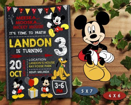 Mickey Mouse Birthday Invitation, Mickey Mouse Invite, Mickey Mouse Birthday Party, Mickey Mouse Printable, Mickey Mouse Card, DIY