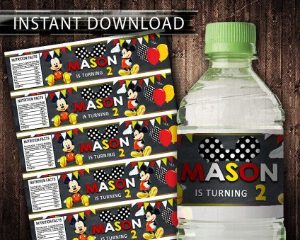 Mickey Mouse Water Bottle Labels, Mickey Mouse Bottle Labels, Water Labels, Mickey Mouse Birthday Party, DIY