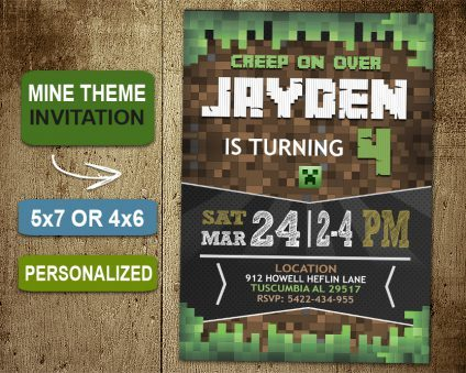 Minecraft Invitation, Minecraft Invite, Minecraft Birthday Party, Minecraft Printable, Minecraft Card, DIY