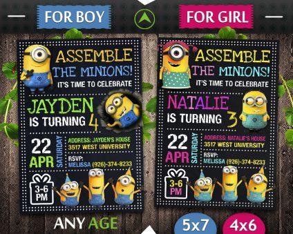 Minions Invitation, Minions Invite, Minions Birthday Party, Minions Printable, Minions Card, DIY