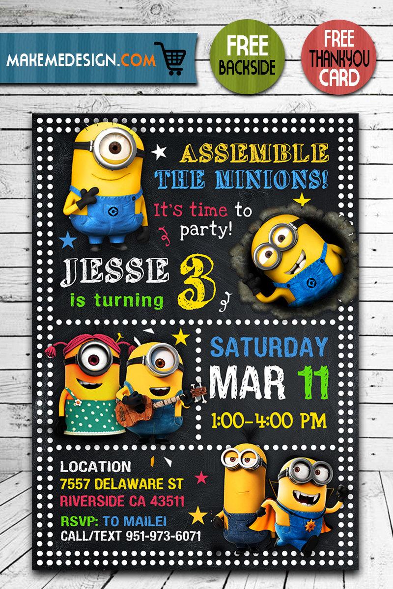 Minions Invitation, Minions Invite, Minions Birthday Party ...