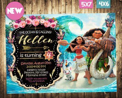 Moana Birthday Invitation, Moana Invite, Moana Birthday Party, Moana Printable, Moana Card, DIY
