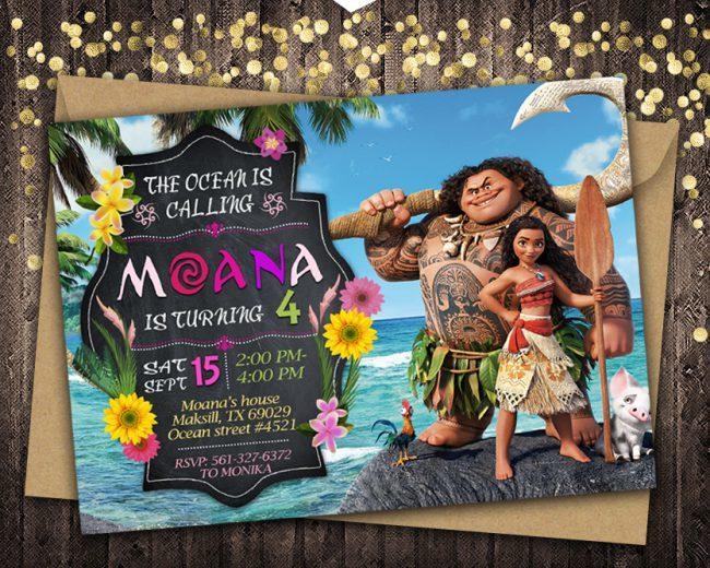 Moana Invitation, Moana Invite, Moana Birthday Party, Moana Printable, Moana Card, DIY