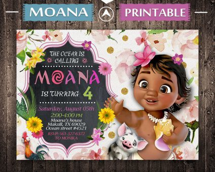Moana Baby Invitation, Moana Baby Invite, Moana Baby Birthday Party, Moana Printable, Moana Card, DIY
