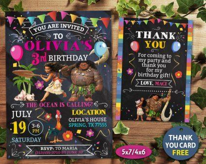 Moana Party Invites, Moana Invite, Moana Birthday Party, Moana Printable, Moana Card, DIY