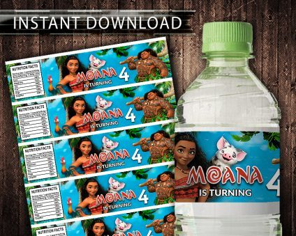 Moana Water Bottle Labels, Moana Bottle Labels, Water Labels, Moana Birthday Party, DIY