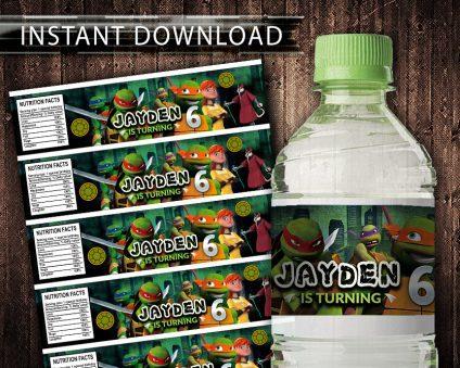 Ninja Turtles Water Bottle Labels, Ninja Turtles Bottle Labels, Water Labels, Ninja Turtles Birthday Party, DIY