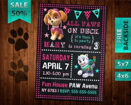 Paw Patrol Party Invitations Girl, Paw Patrol Girl Invite, Paw Patrol Birthday Girl Party, Printable Paw Patrol Girl