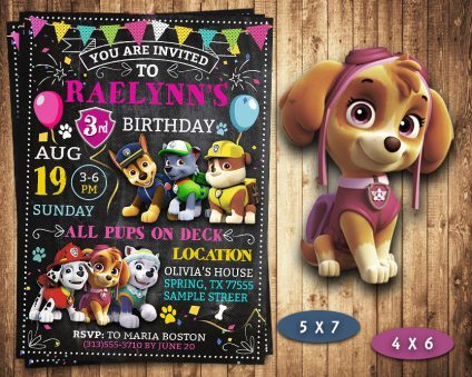 Paw Patrol Party Invites Girl, Paw Patrol Girl Invite, Paw Patrol Birthday Girl Party, Printable Paw Patrol Girl