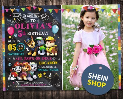 Paw Patrol Birthday Invitations Girl, Paw Patrol Girl Invite, Paw Patrol Birthday Girl Party, Printable Paw Patrol Girl
