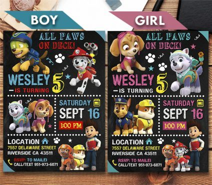 Paw Patrol Invitation, Paw Patrol Birthday Invites, Paw Patrol Birthday Party, Printable Paw Patrol