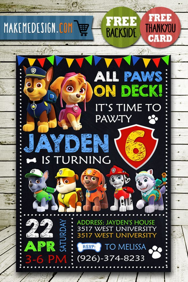 Paw Patrol Birthday Invitations Boys, Paw Patrol Invite, Paw Patrol Birthday Party, Printable Paw Patrol