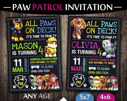 Paw Patrol Party Ideas Card, Paw Patrol Invite, Paw Patrol Birthday Party, Printable Paw Patrol