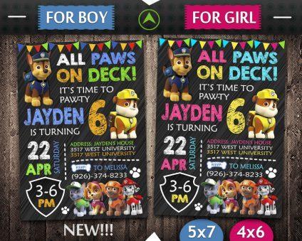 Paw Patrol Party Invites, Paw Patrol Invite, Paw Patrol Birthday Party, Printable Paw Patrol