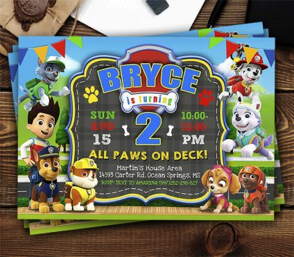 Paw Patrol Birthday Invite Template, Paw Patrol Invite, Paw Patrol Birthday Party, Printable Paw Patrol