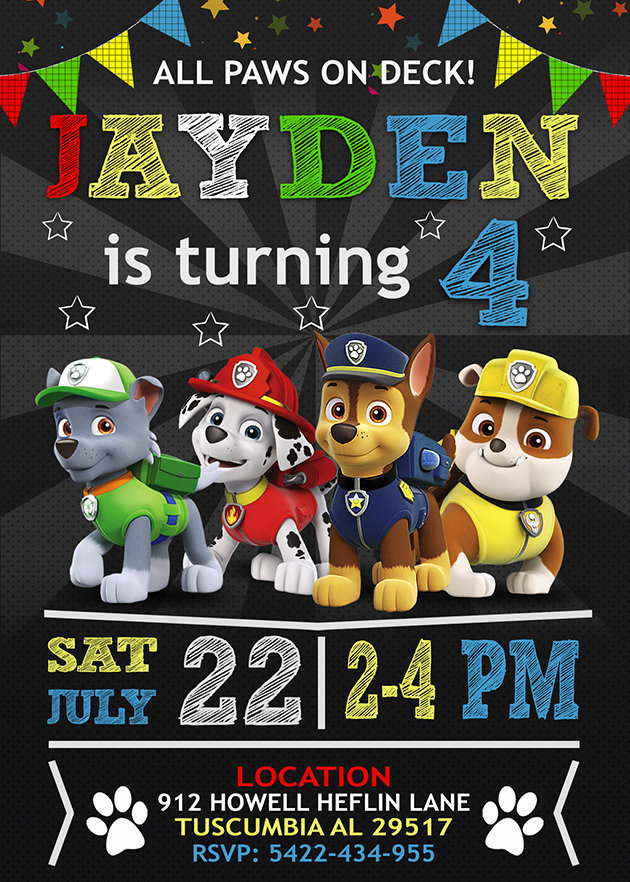Paw Patrol Birthday Invitations Template, Paw Patrol Invite, Paw Patrol Birthday Party, Printable Paw Patrol