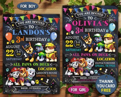 Paw Patrol Birthday Invitations Diy, Paw Patrol Invite, Paw Patrol Birthday Party, Printable Paw Patrol