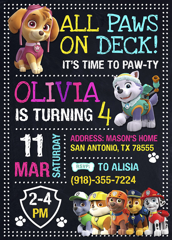 Paw Patrol Party Ideas Card, Paw Patrol Invite, Paw Patrol Birthday Party, Printable Paw Patrol