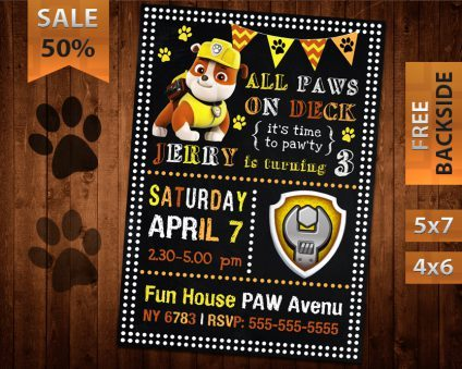 Paw Patrol Rubble Invitation, Paw Patrol Rubble Invite, Paw Patrol Birthday Rubble Party, Printable Paw Patrol Rubble