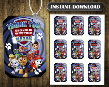 Paw Patrol Thank You Tags, Paw Patrol Tags, Paw Patrol Thank You Card, Paw Patrol Favor Tags, DIY