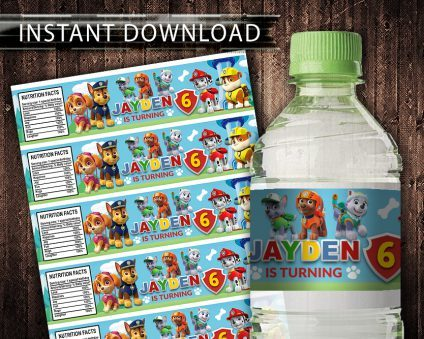 Paw Patrol Water Bottle Labels, Paw Patrol Bottle Labels, Water Labels, Paw Patrol Birthday Party, DIY