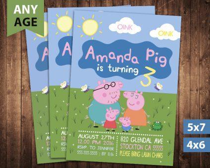 Peppa Pig Invitation, Peppa Pig Invite, Peppa Pig Birthday Party, Peppa Pig Printable, Peppa Pig Card, DIY