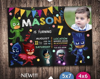 Pj Masks Invitation With Picture, Pj Masks Invite, Pj Masks Birthday Party, Pj Masks Printable, Pj Masks Card, DIY