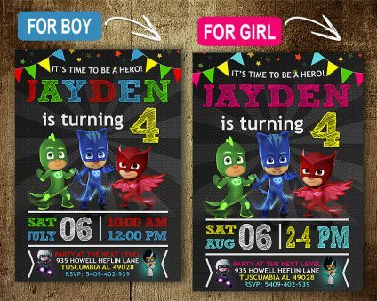 Pj Masks Invitations Printables, Pj Masks Invite, Pj Masks Birthday Party, Pj Masks Printable, Pj Masks Card, DIY
