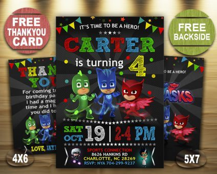 Pj Masks Birthday Invitations Diy, Pj Masks Invite, Pj Masks Birthday Party, Pj Masks Printable, Pj Masks Card, DIY