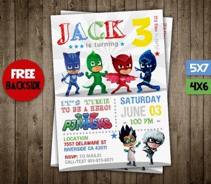 Pj Masks Birthday Invitations Boys, Pj Masks Invite, Pj Masks Birthday Party, Pj Masks Printable, Pj Masks Card, DIY