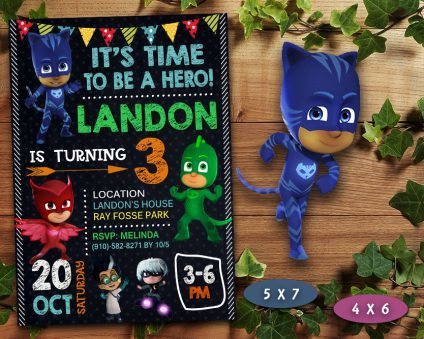 Pj Masks Birthday Invitation, Pj Masks Invite, Pj Masks Birthday Party, Pj Masks Printable, Pj Masks Card, DIY