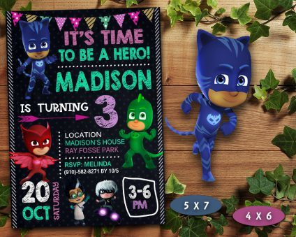 Pj Masks Birthday Invitations Girl, Pj Masks Girl  Invite, Pj Masks Birthday Girl Party, Pj Masks Printable, Pj Masks Card, DIY