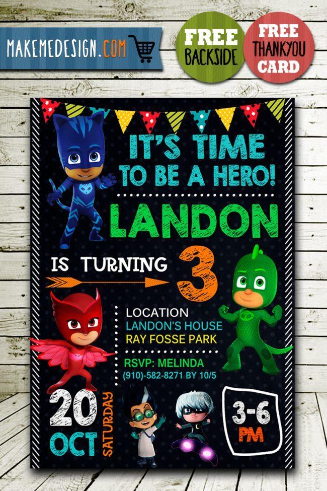 Pj Masks Birthday Invitation, Pj Masks Invite, Pj Masks Birthday Party, Pj Masks Printable, Pj Masks Card, DIY