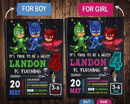 Pj Masks Invitation, Pj Masks Invite, Pj Masks Birthday Party, Pj Masks Printable, Pj Masks Card, DIY