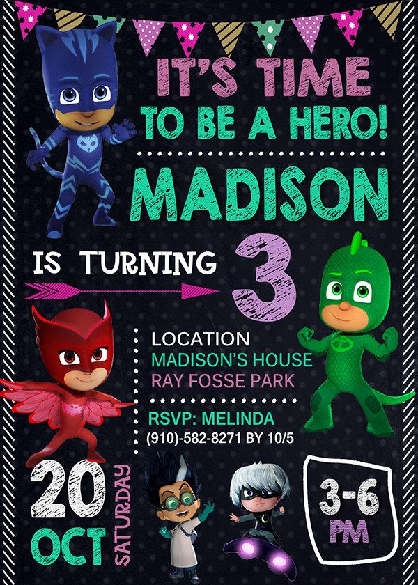 Pj Masks Birthday Invitations Girl, Pj Masks Girl  Invite, Pj Masks Birthday Girl Party, Pj Masks Printable, Pj Masks Card, DIY