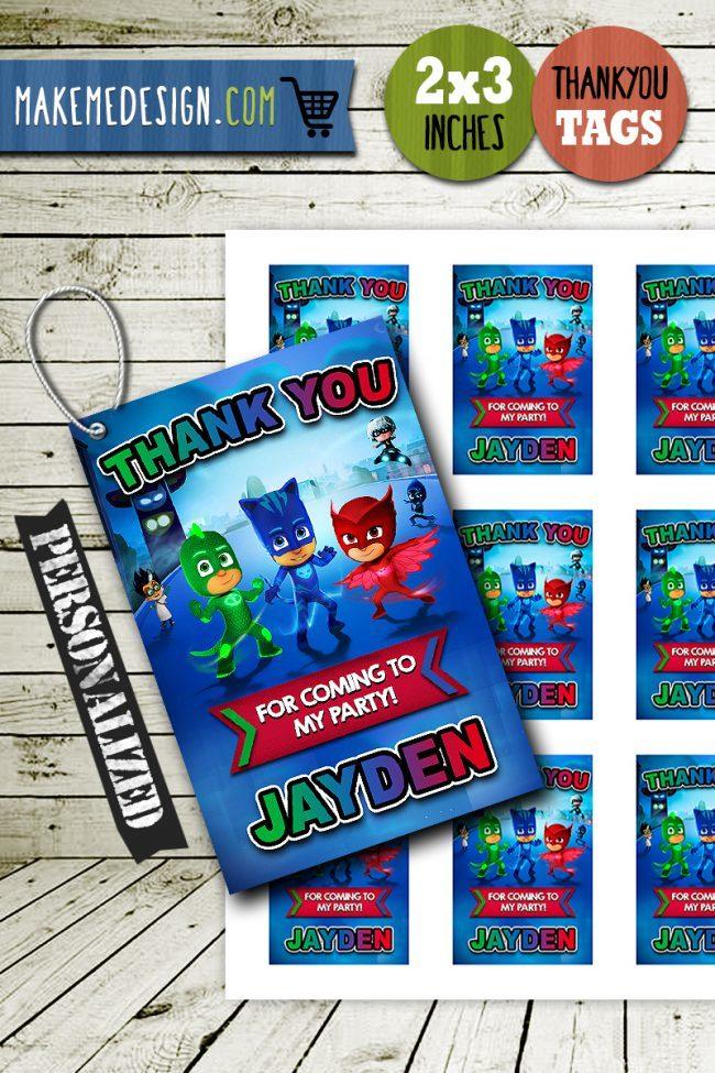 Pj Masks Thank You Tags, Pj Masks Tags, Pj Masks Thank You Card, Pj Masks Favor Tags, DIY