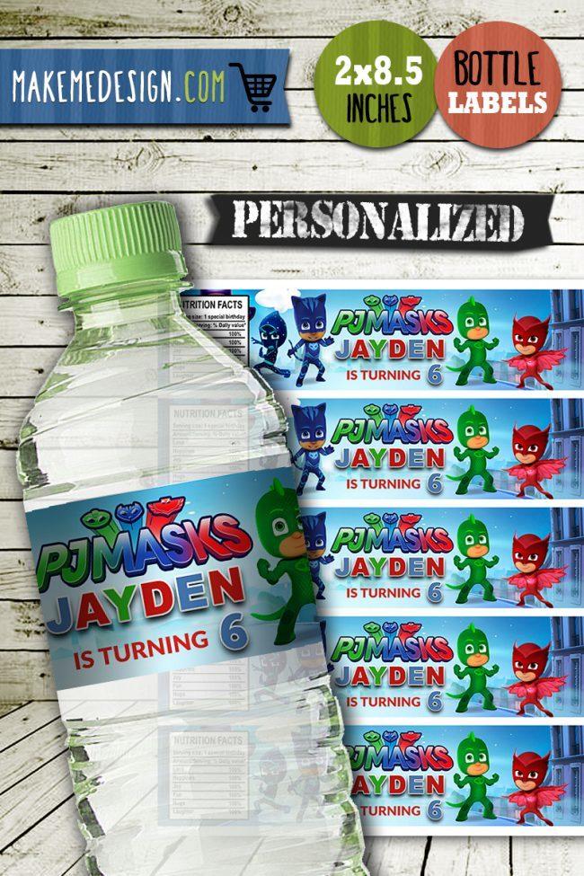 Pj Masks Water Bottle Labels, Pj Masks Bottle Labels, Water Labels, Pj Masks Birthday Party, DIY